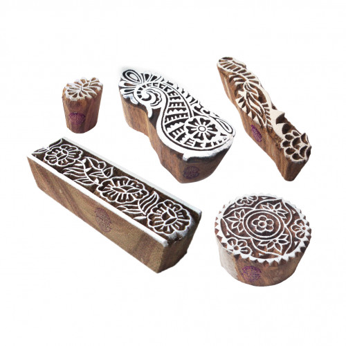 (Set of 5) Decorative Pattern Border and Floral Wooden Blocks for Printing