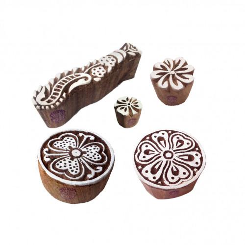 (Set of 5) Designer Pattern FLower and Finger Wooden Blocks for Printing