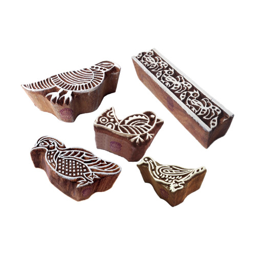 (Set of 5) Indian Pattern Bird and Border Wooden Blocks for Printing