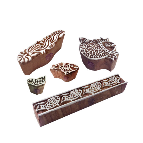 (Set of 5) Handcarved Pattern Fish and Border Wooden Blocks for Printing