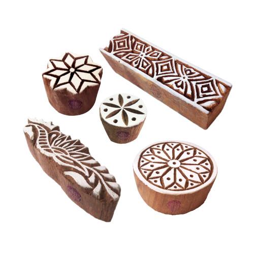 (Set of 5) Ornate Pattern Flower and Border Wooden Blocks for Printing