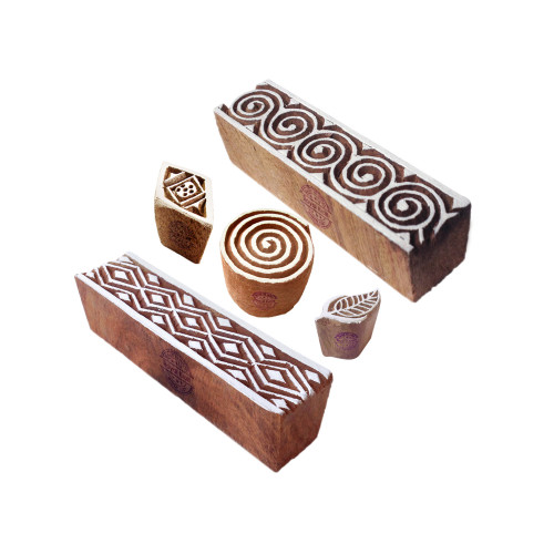 (Set of 5) Crafty Pattern Spiral and Border Wooden Blocks for Printing