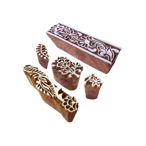 (Set of 5) Trendy Pattern Flower and Border Wooden Blocks for Printing