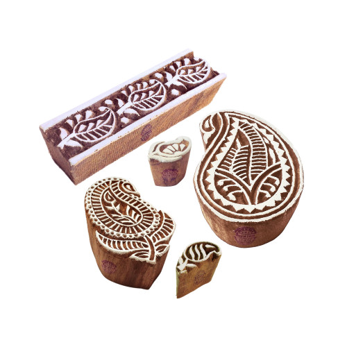 (Set of 5) Fancy Pattern Paisley and Border Wooden Blocks for Printing