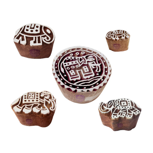 (Set of 5) Designer Pattern Mix and Elephant Wooden Blocks for Printing