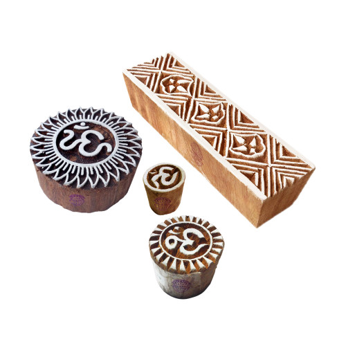 (Set of 4) Crafty Pattern Om and Border Wooden Blocks for Printing