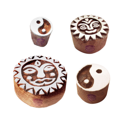 (Set of 4) Attractive Pattern Yin Yang and Sun Wooden Blocks for Printing