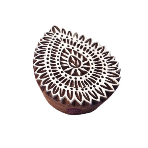 Rural Floral Design Drop Leaf Wooden Clay Printing Stamp