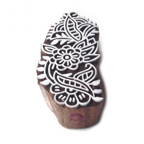 Artistic Exclusive Floral Motif Wooden Stamp for Printing