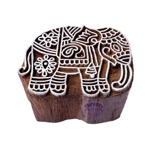 Handcarved Elephant Animal Motif Wooden Stamp for Printing