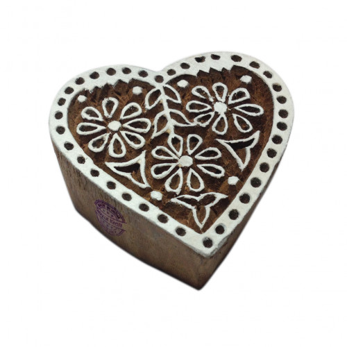 Classy Floral Heart Motif Wooden Stamp for Printing