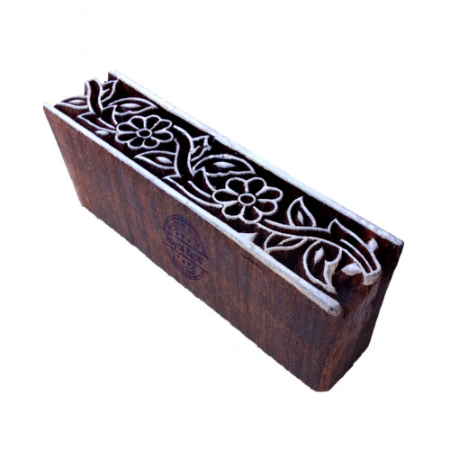 Intricate Floral Motif Border Wooden Stamp for Printing
