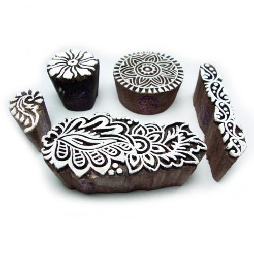 (Set of 5) Handmade Round and Floral Motif Wooden Stamps for Printing
