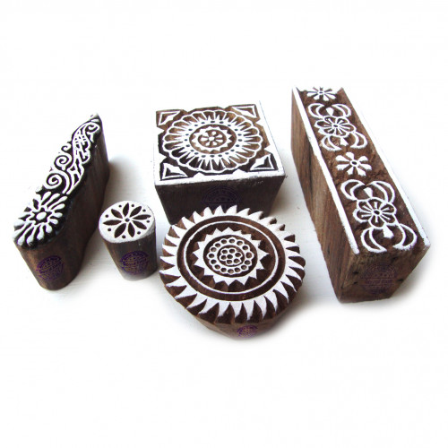 (Set of 5) Designer Floral and Assorted Motif Wooden Stamps for Printing