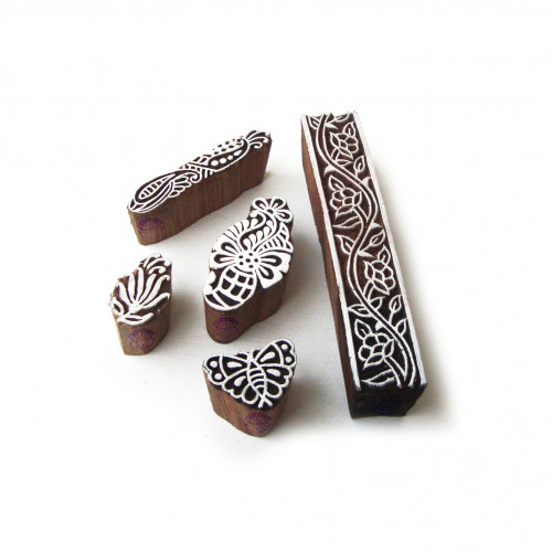 (Set of 5) Artistic Butterfly and Leaf Motif Wooden Stamps for Printing