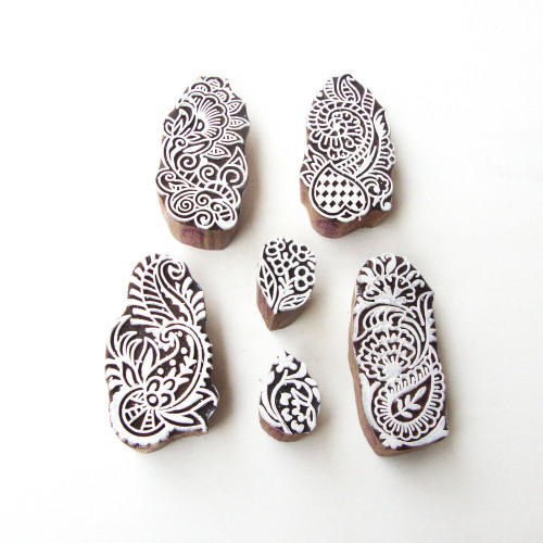(Set of 6) Contemporary Leaf and Floral Motif Wooden Stamps for Printing