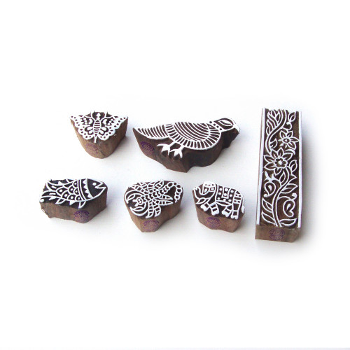 (Set of 6) Bird and Animal Traditional Motif Wooden Stamps for Printing