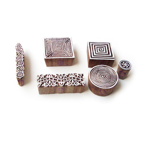 (Set of 6) Spiral and Border Jaipuri Motif Wooden Stamps for Printing