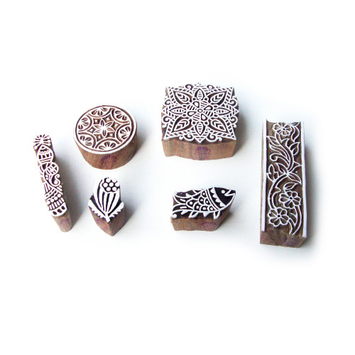 (Set of 6) Fish and Square Hand Carved Motif Wooden Stamps for Printing