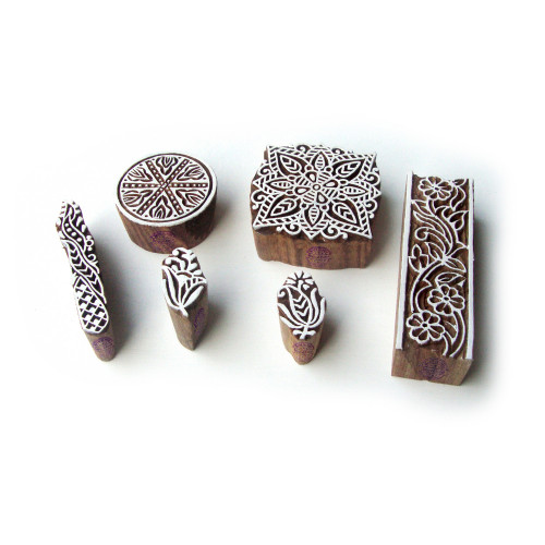 (Set of 6) Square and Round Ethnic Motif Wooden Stamps for Printing