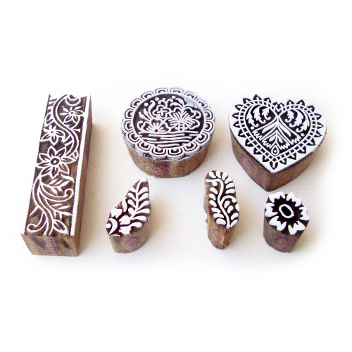 (Set of 6) Round and Heart Hand Crafted Motif Wooden Stamps for Printing
