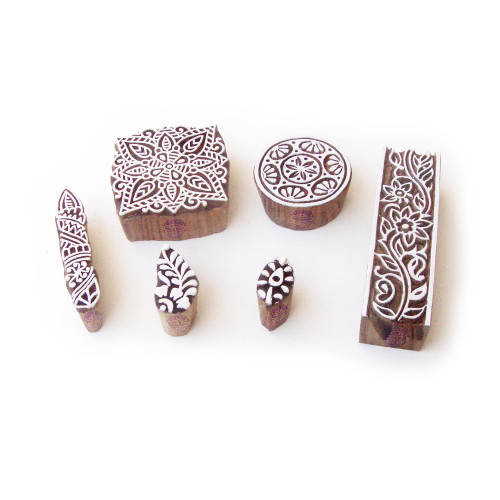 (Set of 6) Square and Round Contemporary Motif Wooden Stamps for Printing