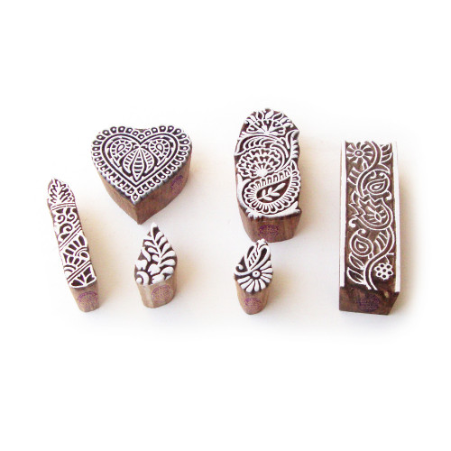 (Set of 6) Heart and Leaf Asian Motif Wooden Stamps for Printing