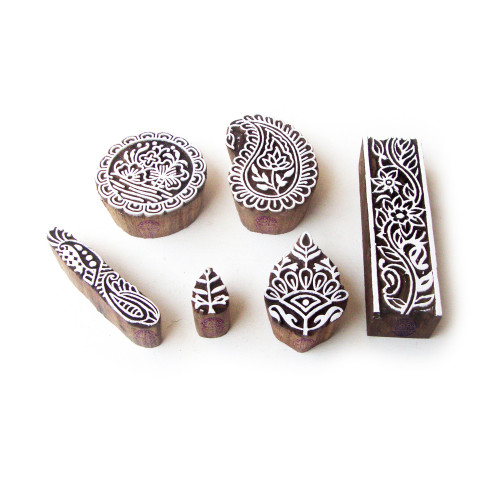 (Set of 6) Round and Paisley Handmade Motif Wooden Stamps for Printing