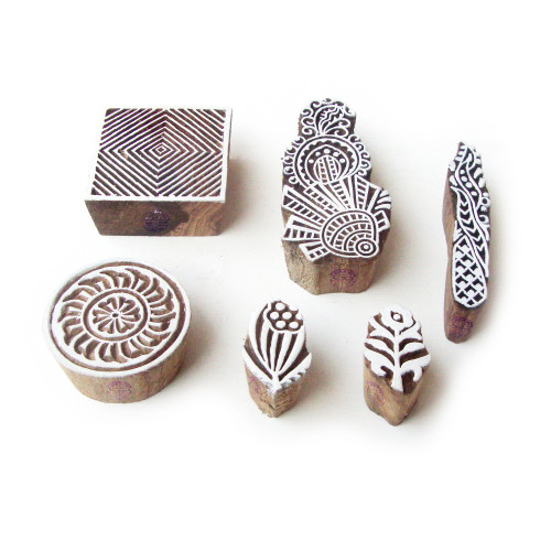 (Set of 6) Round and Square Traditional Motif Wooden Stamps for Printing