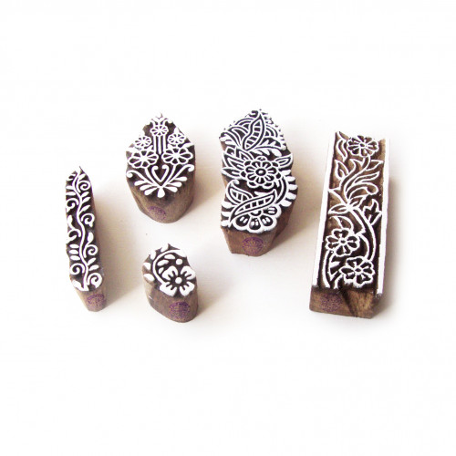 (Set of 5) Assorted and Floral Ethnic Motif Wooden Stamps for Printing