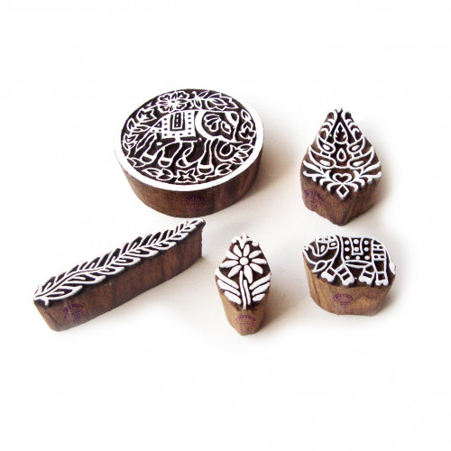 (Set of 5) Elephant and Round Designer Motif Wooden Stamps for Printing