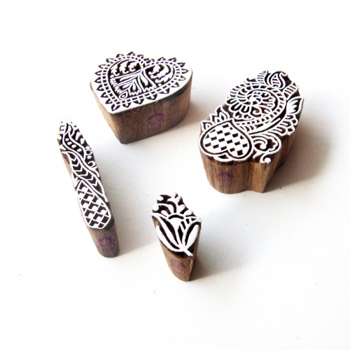 (Set of 4) Heart and Floral Traditional Motif Wooden Stamps for Printing