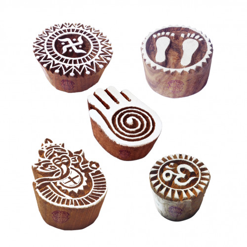 (Set of 5) Asian Shapes Religious and Healing Hand Wooden Stamps for Printing