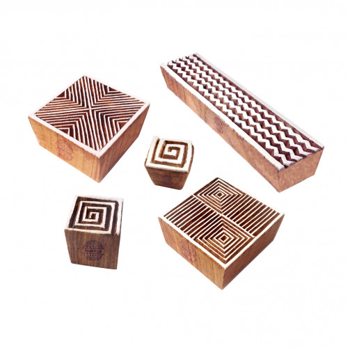 (Set of 5) Elegant Shapes Chevron and Geometric Wooden Stamps for Printing
