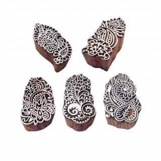 (Set of 5) Original Shapes Floral and Paisley Wooden Stamps for Printing