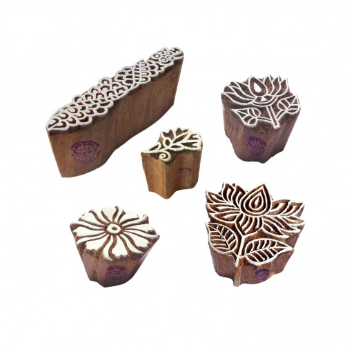 (Set of 5) Abstract Shapes Lotus and Floral Wooden Stamps for Printing