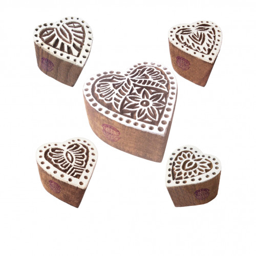 (Set of 5) Jaipuri Shapes Flower and Heart Wooden Stamps for Printing