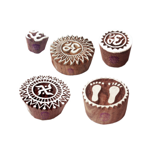 (Set of 5) Rural Shapes Religious and Round Wooden Stamps for Printing