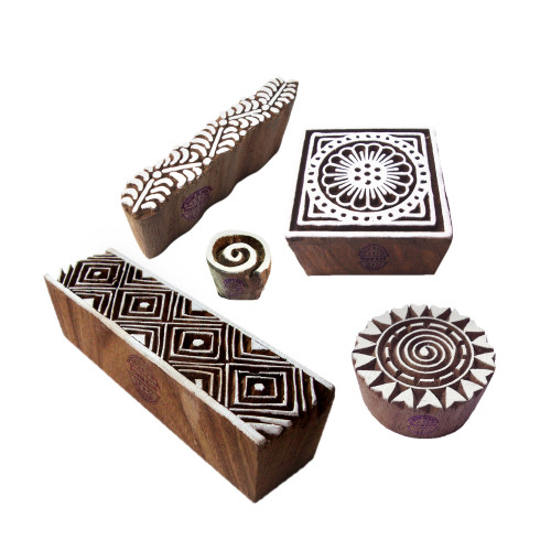 (Set of 5) Innovative Shapes Spiral and Border Wooden Stamps for Printing