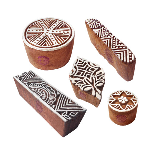 (Set of 5) Abstract Shapes Geometric and Round Wooden Stamps for Printing
