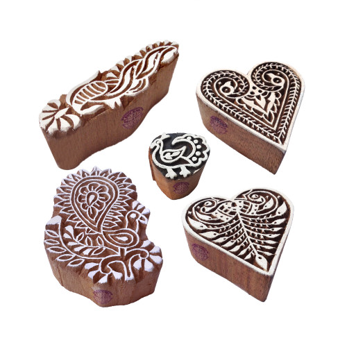 (Set of 5) Jaipuri Shapes Peacock and Heart Wooden Stamps for Printing