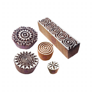 (Set of 5) Asian Shapes Spiral and Border Wooden Stamps for Printing