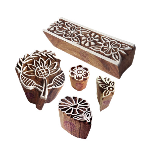 (Set of 5) Ethnic Shapes Floral and Leaf Wooden Stamps for Printing