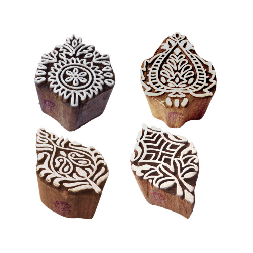 (Set of 4) Handmade Shapes Damask and Floral Wooden Stamps for Printing