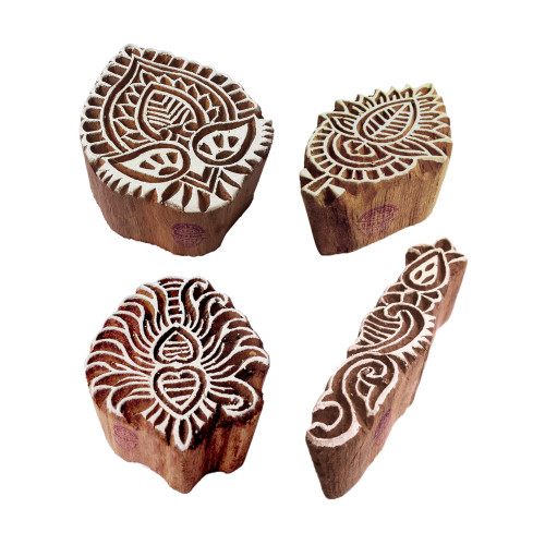 (Set of 4) Beautiful Shapes Leaf and Floral Wooden Stamps for Printing