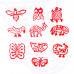 (Set of 10) Pottery Printing Blocks Exquisite Small Bird Pattern Wooden Stamps