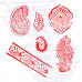 (Set of 6) Exclusive Motif Floral and Paisley Block Print Wood Stamps