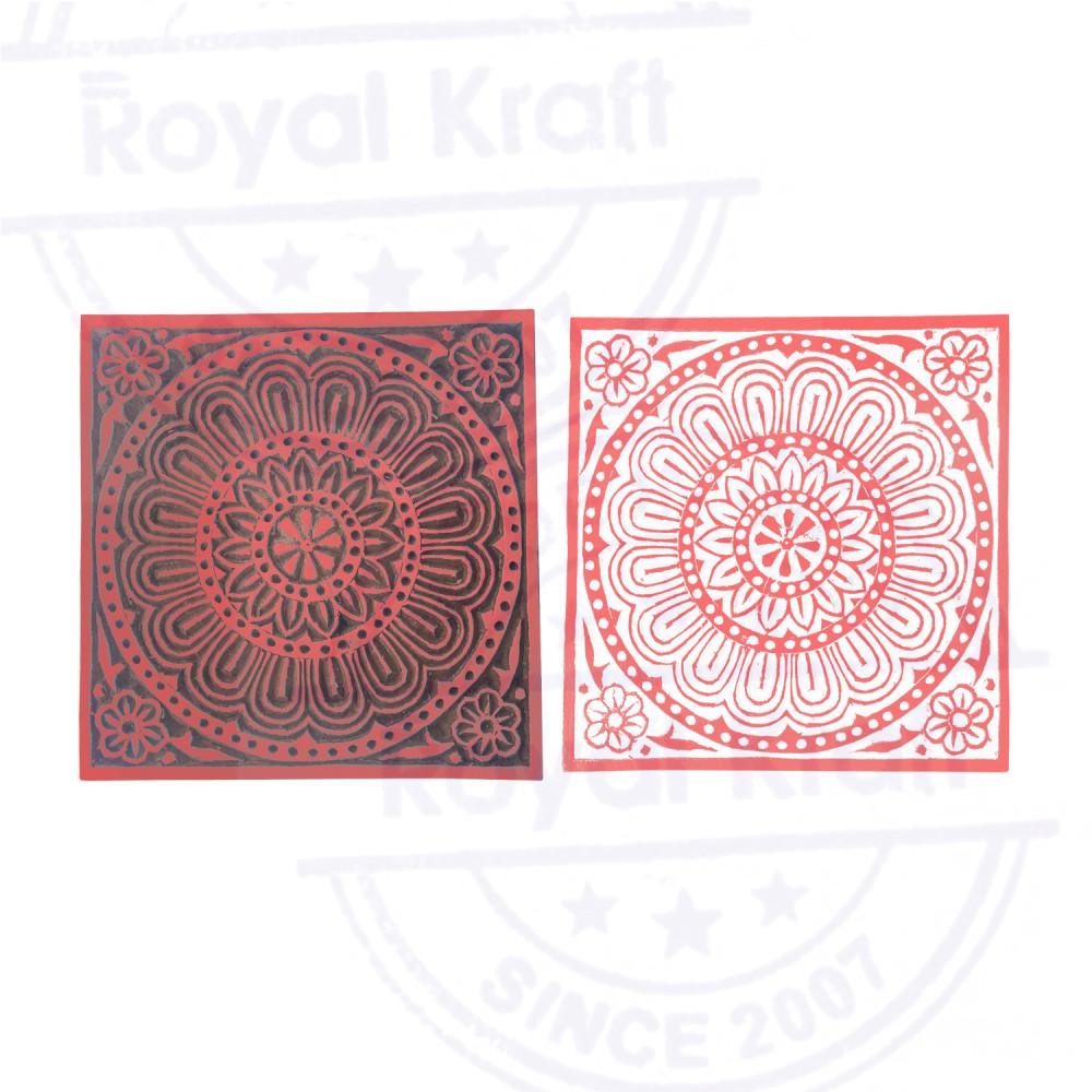 Royal Kraft Hand Carved Printing Block Large Leafy Tree Shape Big Wood Stamp