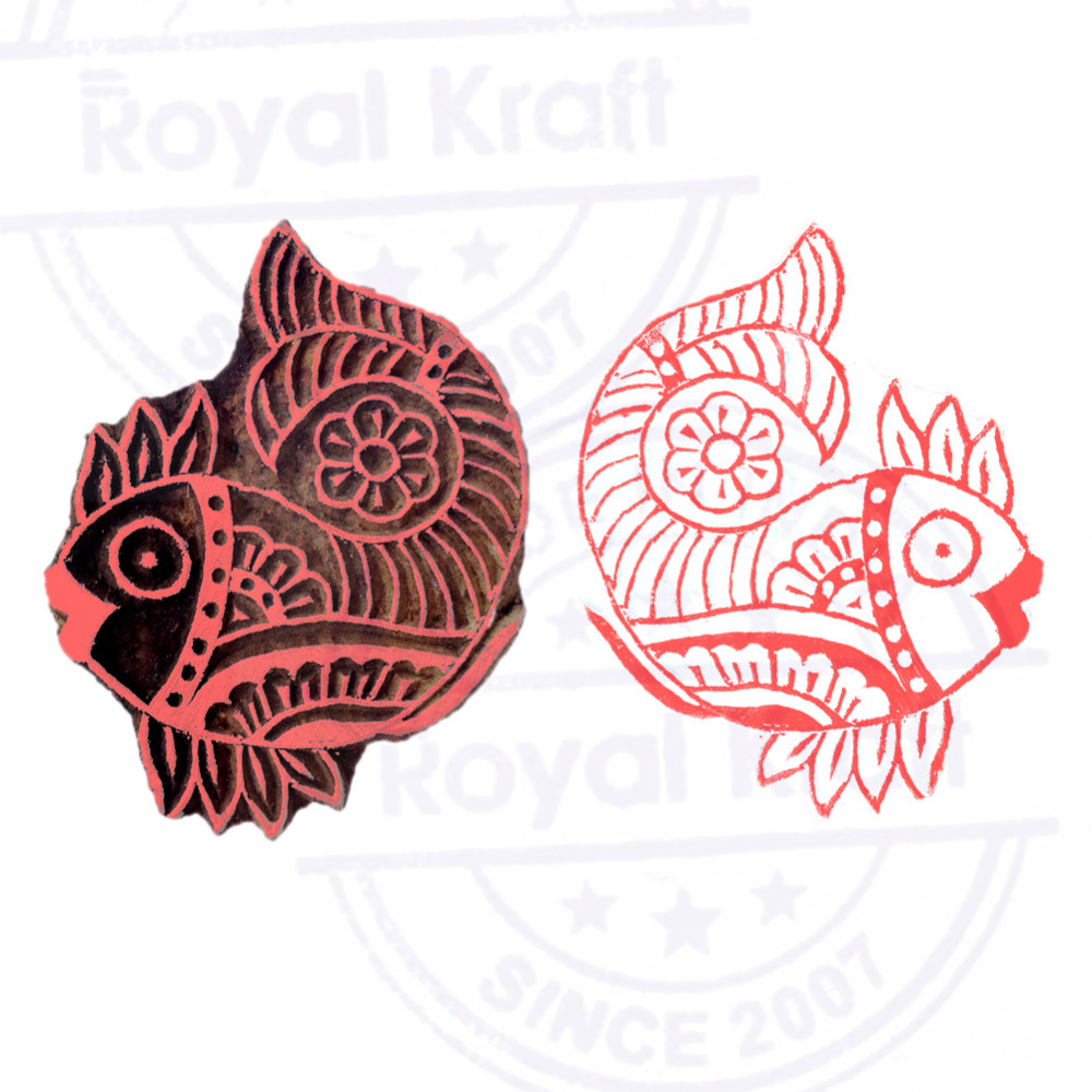Handmade Fish Aquatic Design Wooden Printing Stamp THDtag002
