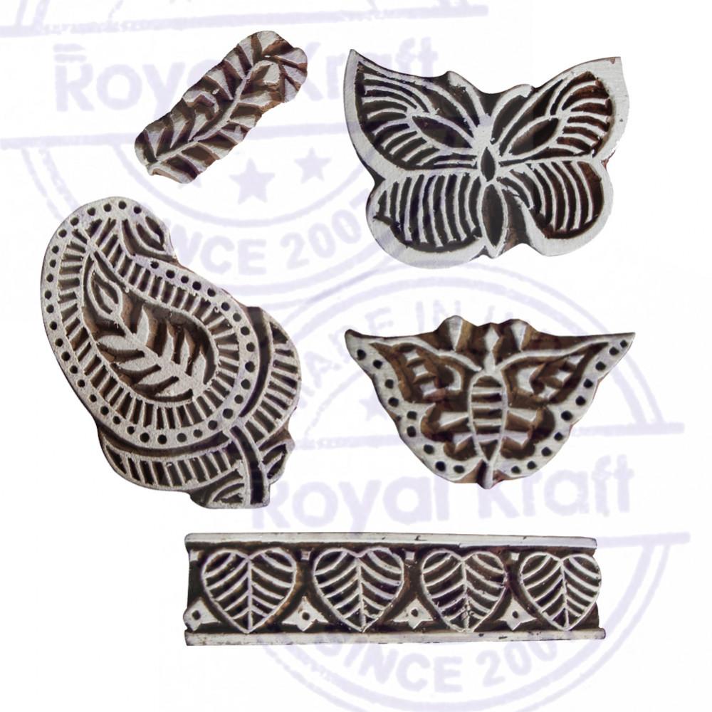 Royal Kraft Jaipuri Floral et /Él/éphant Motif Bois Impression Blocs Set de 5